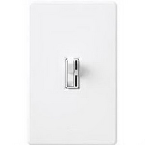 Lutron AYLV-600P-WH Ariadni® Single Pole Magnetic Low Voltage Preset Slide Dimmer with Toggle Switch; 120 Volt AC, 450 Watt, White