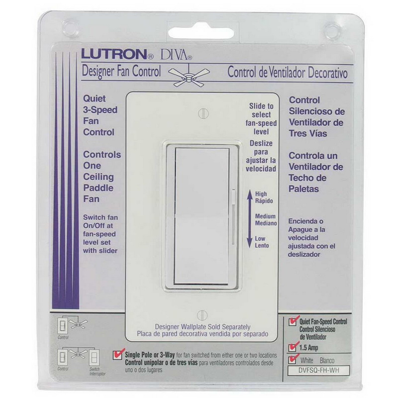 Lutron DVFSQ-FH-WH Diva® Quiet Three Speed Variable Fan Control; 120 Volt AC, 1.5 Amp, Single Pole/Three Way, Paddle Switch Turns On/Off, White
