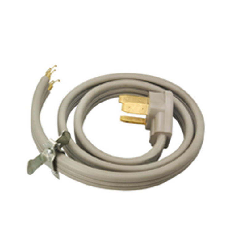 Coleman Cable / CCI 09014 SRDT Range and Dryer Flat Cord; 8/2-6/1 AWG, 4 ft, 50 Amp, 125/250 Volt AC, Right Angle plug, PVC Jacket, Gray