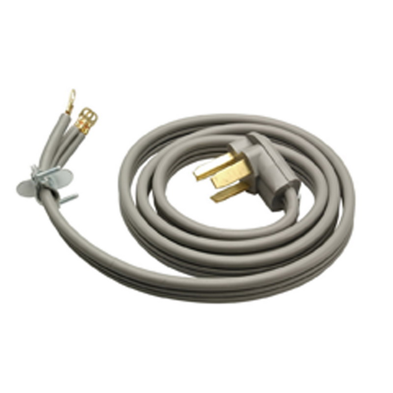 Coleman Cable / CCI 091248809 SRDT Range and Dryer Flat Cord; 10/3 AWG, 4 ft, 30 Amp, 125/250 Volt AC, Right Angle plug, PVC Jacket, Gray, 6/Pack