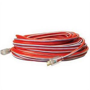 Coleman Cable / CCI 02549-US-A1 Stripes™ Cool Colors™ SJTW Extension Cord; 100 ft, 15 Amp, 125 Volt AC, Red/White/Blue