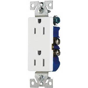 Cooper Wiring 1107W-BOX Decorator Straight Blade Duplex Receptacle; Wallplate Mount, 125 Volt, 15 Amp, 2-Pole, 3-Wire, NEMA 5-15R, White