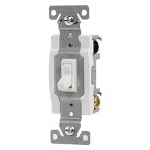 Cooper Wiring 1242-7W-BOX Commercial Toggle Framed 4-Way AC Quiet Switch; 1-Pole, 120 Volt AC, 15 Amp, White