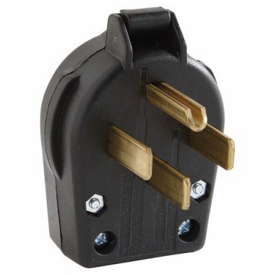 Cooper Wiring S21-SP Specification Grade Universal Angle Power Plug; 30/50 Amp, 125/250 Volt AC, 3-Pole, 4-Wire, NEMA 14-30, 14-50, Black