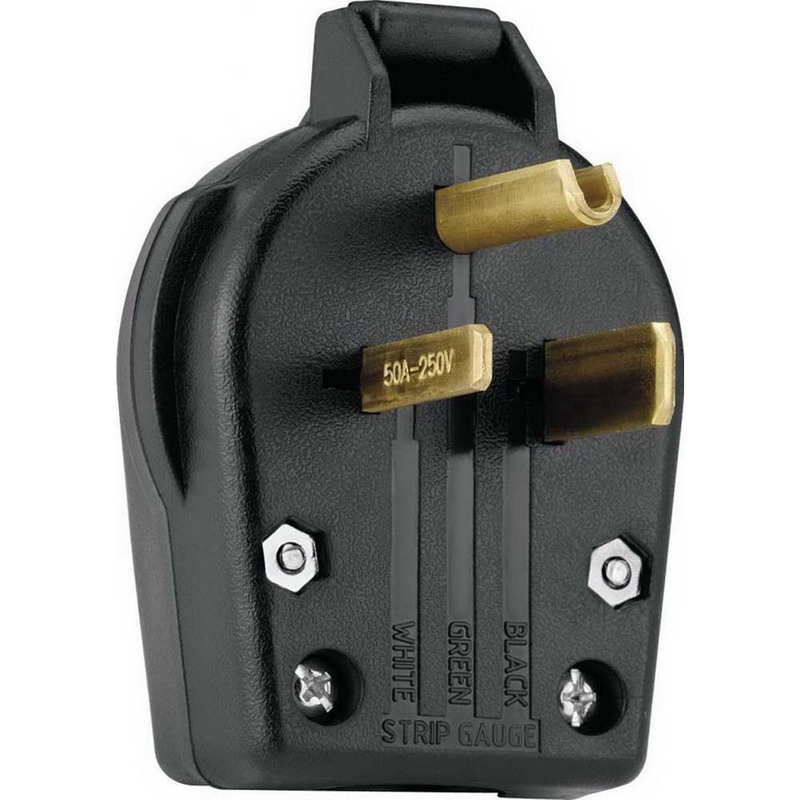 Cooper Wiring S42-SP Specification Grade Grounding Angle Power Plug; 30/50 Amp, 250 Volt AC, 2-Pole, 3-Wire, NEMA 6-30, 6-50, Black