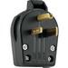 Cooper Wiring S42-SP Specification Grade Grounding Angle Power Plug; 30/50 Amp, 250 Volt AC, 2-Pole, 3-Wire, NEMA 6-30, 6-50, Black