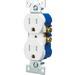 Cooper Wiring TR270W Tamper-Resistant Straight Blade Duplex Receptacle; 125 Volt AC, 15 Amp, 2-Pole, 3-Wire, NEMA 5-15R, White