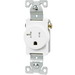 Cooper Wiring TR1877W-BXSP Arrow Hart™ Tamper-Resistant Straight Blade Single Receptacle; Wall Mount, 125 Volt AC, 20 Amp, 2-Pole, 3-Wire, NEMA 5-20R, White