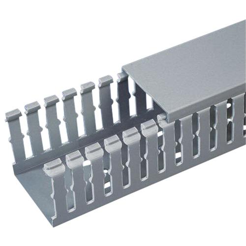 Panduit F1X2LG6 Type-F Narrow Finger Wiring Duct; 6 ft, Lead-Free PVC, Light Gray