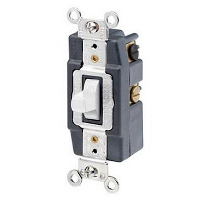 Leviton 1282-W Toggle AC Quiet Switch 2-Pole  DPDT  120/277 Volt AC  15 Amp  White