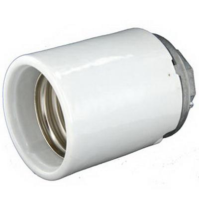 Leviton 8680 Keyless Incandescent Lampholder; 600 Volt, 1500 Watt, Mogul Base, 1/2 Inch Threaded Cap Mount, White