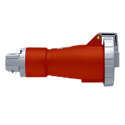 Leviton 530C7W Watertight North American Pin and Sleeve Connector 30 Amp- 277/480 Volt- 4-Pole- 5-Wire- 3 Phase- Screw Terminal- Red-