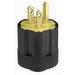 Leviton 113 Polarized Grounding Straight Blade Male Plug with Vinyl Inner Assembly; 15 Amp, 125 Volt, 2-Pole, 3-Wire, NEMA 5-15P, Black