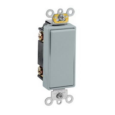 Leviton 5623-2GY Decora® Commercial Rocker 3-Way AC Quiet Switch; 1-Pole, 120/277 Volt AC, 20 Amp, Gray