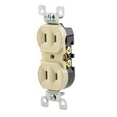 Leviton 223-I Straight Blade Duplex Receptacle with Ears; Wallplate Mount, 125 Volt, 15 Amp, 2-Pole, 2-Wire, NEMA 1-15R, Un-Grounded, Ivory