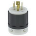 Leviton 2421 Black & White® Polarized Grounding Twist Locking Plug; 20 Amp, 250 Volt, 3-Pole, 4-Wire, NEMA L15-20P, Black/White