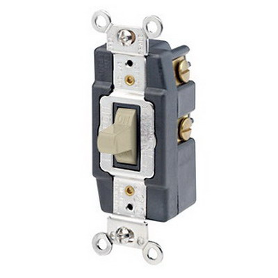 Leviton 1281-I Toggle AC Quiet Switch; 1-Pole, SPDT, 120/277 Volt AC, 15 Amp, Ivory