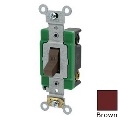Leviton 3032-2 Toggle AC Quiet Switch; 2-Pole, 120/277 Volt AC, 30 Amp, Brown