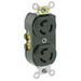 Leviton 4700 Common Feed Duplex Locking Receptacle; Box/Flush Mount, 125 Volt, 15 Amp, 2-Pole, 3-Wire, NEMA L5-15R, Black
