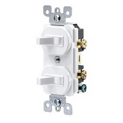 Leviton 5224-2I Decora® Duplex Combination Switch; 120/277 Volt AC, 15 Amp, 1-Pole, Grounding, Ivory