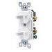 Leviton 5224-2I Decora® Duplex Combination Switch; 120/277 Volt AC, 15 Amp, 1-Pole, Grounding, Ivory