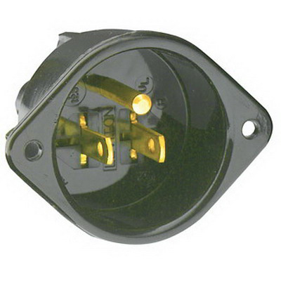 Leviton 5239 Straight Blade Grounding Flanged Inlet Receptacle; 15 Amp, 125 Volt, 2-Pole, 3-Wire, NEMA 5-15P, Black