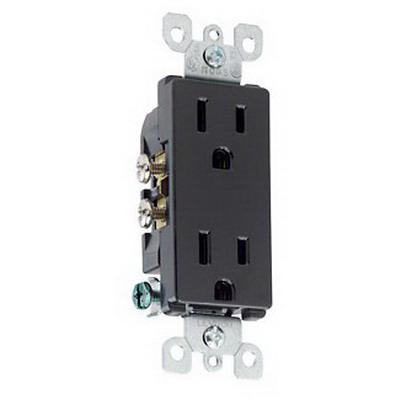 Leviton 5325-E Decora® Straight Blade Duplex Receptacle; Wallplate Mount, 125 Volt, 15 Amp, 2-Pole, 3-Wire, NEMA 5-15R, Black