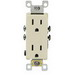 Leviton 5325-SI Decora® Residential Straight Blade Duplex Receptacle; Wallplate Mount, 125 Volt, 15 Amp, 2-Pole, 3-Wire, NEMA 5-15R, Self Grounding Ivory