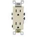 Leviton 5325-SW Decora® Straight Blade Duplex Receptacle; Wallplate Mount, 125 Volt, 15 Amp, 2-Pole, 3-Wire, NEMA 5-15R, White