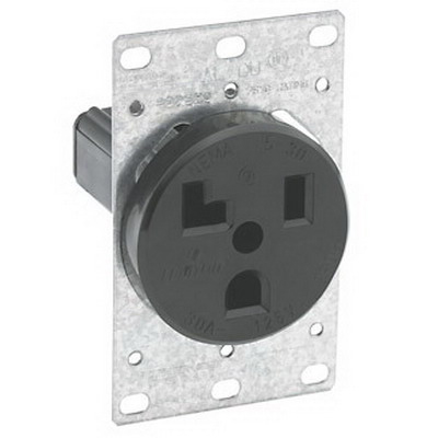Leviton 5371 Straight Blade Power Receptacle; Flush Mount, 125 Volt, 30 Amp, 2-Pole, 3-Wire, NEMA 5-30R, Black