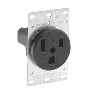 Leviton 5373 Straight Blade Power Receptacle; Flush Mount, 125 Volt, 50 Amp, 2-Pole, 3-Wire, NEMA 5-50R, Black