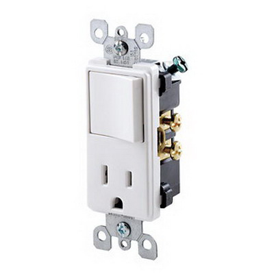 Leviton 5625-W Decora® AC Combination Switch with Receptacle; 120 Volt AC Switch, 125 Volt AC Receptacle, 15 Amp, 1-Pole, Grounding, White