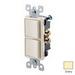 Leviton 5634-I Decora® Double AC Combination Switch; 120/277 Volt AC, 15 Amp, 1-Pole, Grounding, Ivory