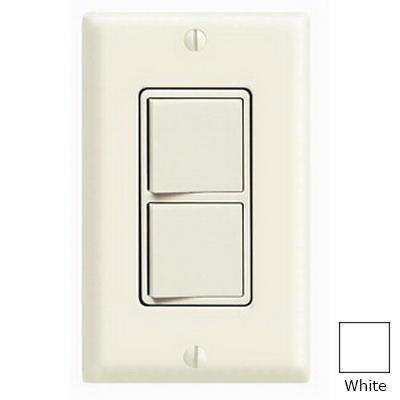 Leviton 5641-W Decora® 3-Way AC Combination Switch; 120/277 Volt AC, 15 Amp, 1-Pole, Grounding, White
