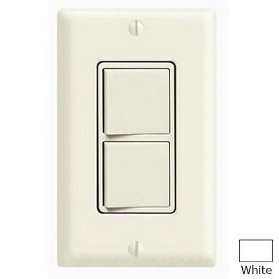 Leviton 5643-W Decora® 3-Way AC Combination Switch; 120/277 Volt AC, 15 Amp, 1-Pole, Grounding, White
