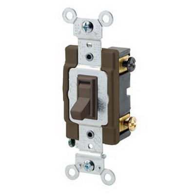 Leviton 54504-2 Commercial Toggle Framed 4-Way AC Quiet Switch; 2-Pole, 120/277 Volt AC, 15 Amp, Brown