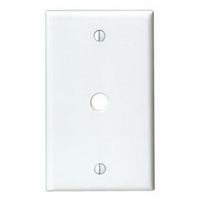 Leviton 88013 Standard Size 1-Gang Wallplate; Box Mount, Thermoset, White