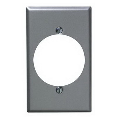 Leviton 4927 Standard Size 1-Gang Single Receptacle Plate; Device Mount, Steel, Aluminum