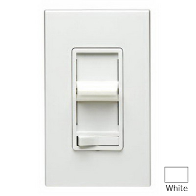 Leviton 6633-PLW SureSlide Single Pole 3-Way Preset Slide Dimmer with Rocker On/Off Switch; 120 Volt AC, 600 Watt, Incandescent, White
