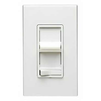 Leviton 6633-PLI SureSlide Single Pole 3-Way Preset Slide Dimmer with Rocker On/Off Switch; 120 Volt AC, 600 Watt, Incandescent, Ivory