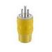 Leviton 14W34 Wetguard® Watertight Grounding Straight Blade Plug; 15 Amp, 277 Volt, 2-Pole, 3-Wire, NEMA 7-15P, Yellow