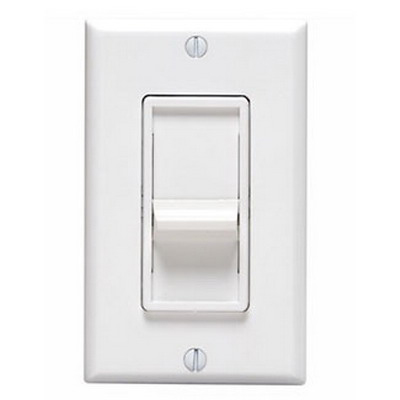 Leviton 6631-LW SureSlide Single Pole Electro-Mechanical Slide Dimmer with Rocker On/Off Switch; 120 Volt AC, 600 Watt, Incandescent/LED, White