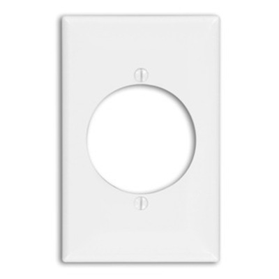 Leviton 80728-I Midway Size 1-Gang Single Receptacle Plate; Device Mount, Thermoplastic Nylon, Ivory