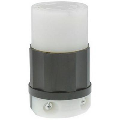 Leviton 4729-PLC Black & White® Power Indication Grounding Female Twist Lock Connector; 15 Amp, 125 Volt AC, 2-Pole, 3-Wire, NEMA L5-15R, Black/White