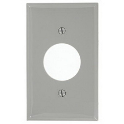 Leviton 80704-GY Standard Size 1-Gang Single Receptacle Plate; Device Mount, Thermoplastic Nylon, Gray