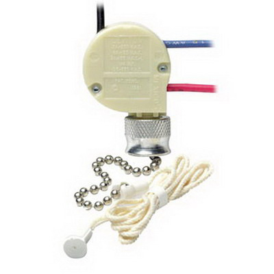 Leviton 1689-50 Pull Chain Switch; 1-Pole, Single Circuit, 4-Position, 125/250 Volt AC, 6/3 Amp, White