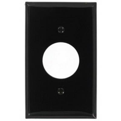 Leviton 80704-E Standard Size 1-Gang Single Receptacle Plate; Device Mount, Thermoplastic Nylon, Black
