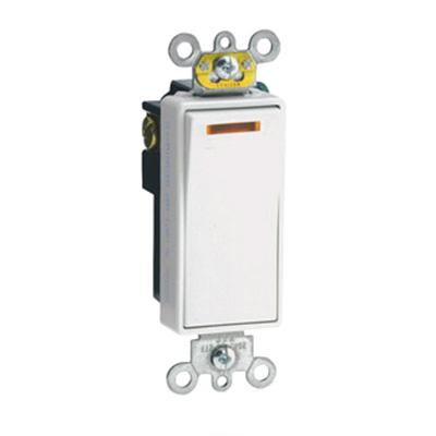 Leviton 5631-2W Decora Plus® Commercial Rocker Lighted Handle AC Quiet Switch; 1-Pole, 120 Volt AC, 20 Amp, White