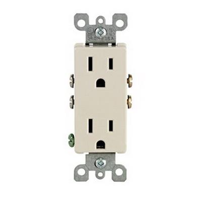 Leviton 5325-T Decora® Straight Blade Duplex Receptacle; Wallplate Mount, 125 Volt, 15 Amp, 2-Pole, 3-Wire, NEMA 5-15R, Light Almond