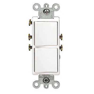 Leviton 5634-T Decora® Double AC Combination Switch; 120/277 Volt AC, 15 Amp, 1-Pole, Grounding, Light Almond